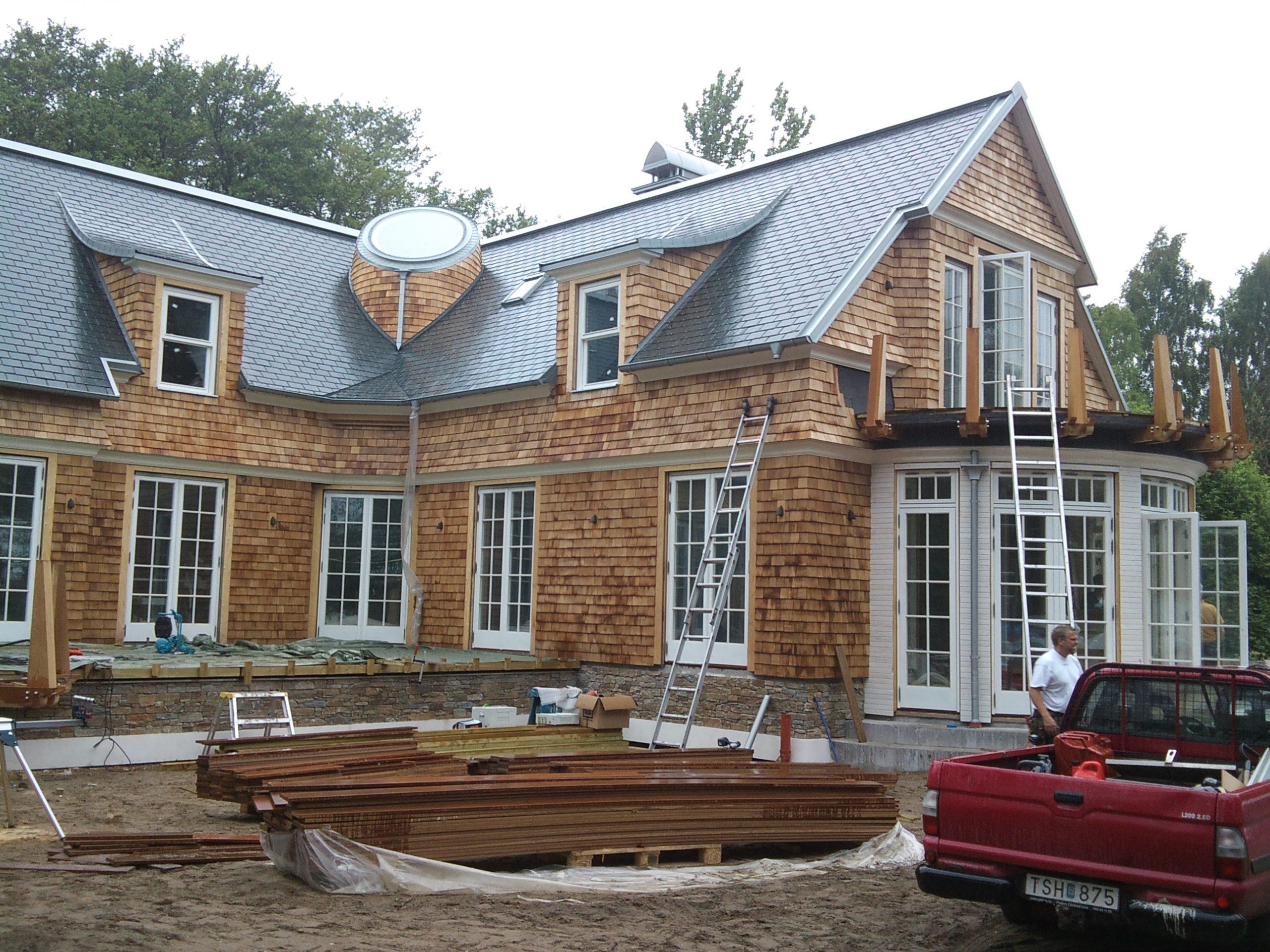 Cederträ fjällpanel fasad hus